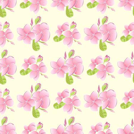 Seamless pattern with Plumeria. Endless texture for wedding design with Frangipani. Stock Photo