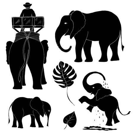 Silhouettes of elephants for different design.