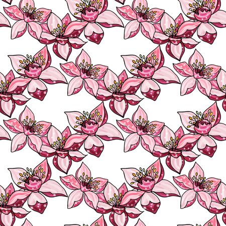 Vector botanical illustration. Vintage endless pattern with hand-drawn apple blossom.