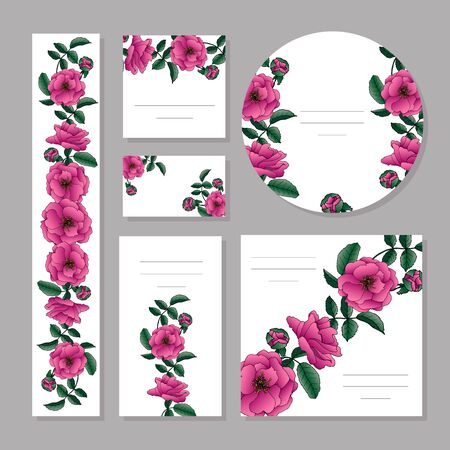 Floral summer templates with cute pink roses and leaves.