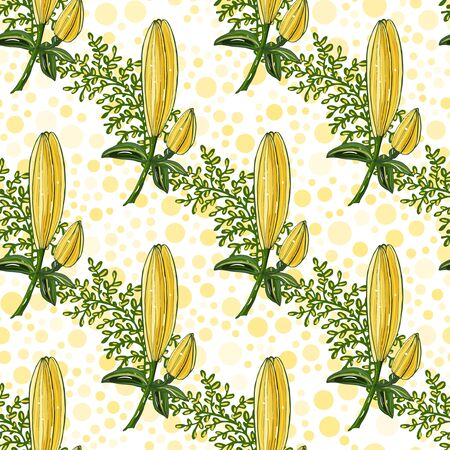 Endless texture for design. Vector background with buds of lilies for romantic cards, design, wedding, fabric, textile.