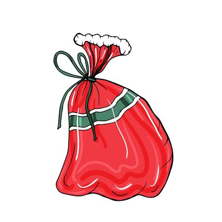 Vector illustration with isolated a bag with presents on the white background for decor winter holidays.
