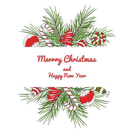 Carta decorativa di Natale e Capodanno con posto per il testo. Articoli disponibili su bianco. Illustrazione vettoriale. Vettoriali