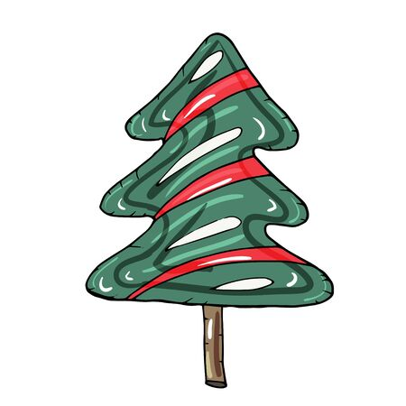A hand drawn colorful candy cones as tree for Christmas, New Year or Birthday. Candy cones for decoration holiday cards and invitations to the winter holidays or Birthday. Isolated on white. Illustration
