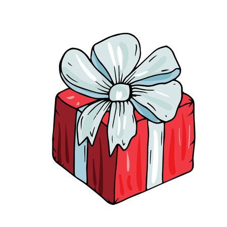 Merry Christmas decorative a gift box with presents. Vector illustration with isolated a gift with presents on the white background for decor winter holidays.