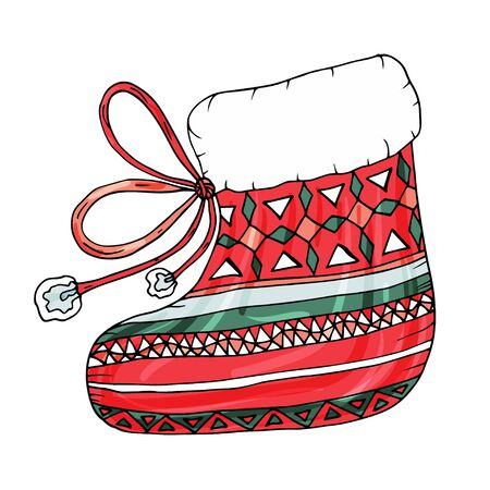 Merry Christmas decorative boot. Vector illustration with isolated a Christmas colorful boot on the white background for decor winter holidays. Illustration