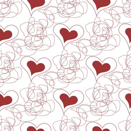 Seamless pattern of red hearts and decorative lines. Vector drawing for Valentines day. Changeable background. Endless texture for different design. 向量圖像