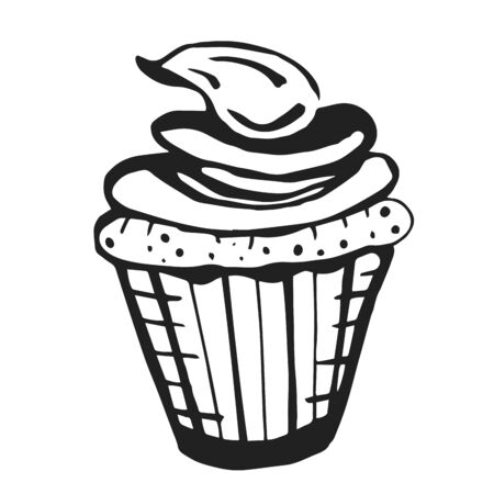 Black and white hand drawn cupcake with cream. Sketch style vector illustration isolated on white background. Realistic hand drawing of cupcake with cream. Illustration