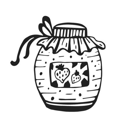 Strawberry jam in a jar isolated on white background. Hand drawn doodle vector sketch. Coloring page, Coloring book. Contour.