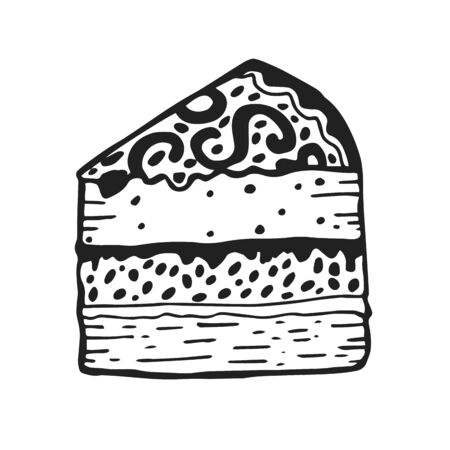 Hand drawn cheesecake piece with cream. Black and white sketch isolated on white background. Vector illustration.