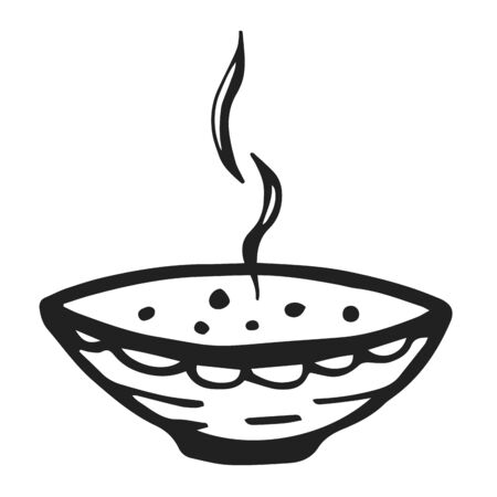 Bowl with soup hand drawn illustration. A bowl with porridge concept vector sketch illustration for print. Doodle icon isolated on white background. Illustration