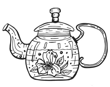 Glass teapot with hot herbal tea. Outline doodle isolated illustration on white background. Single hand drawn teapot for culinary design.