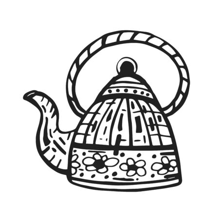 Funny enamelled teapot with hot tea. Outline doodle isolated illustration on white background. Single hand drawn teapot for culinary design.