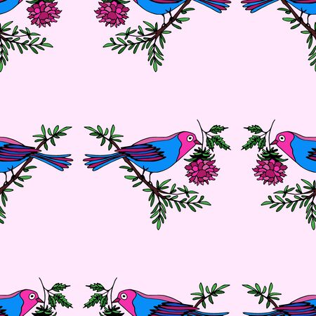 Seamless pattern with hand drawn decorative bright birds on cold pink. A bird sits on a branch and holds a flower in its beak. Vector background with cute birds for cards, design, fabric, textile.