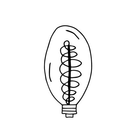 Single hand drawn light bulb dear rim. Doodle vector illustration for greeting cards, posters, stickers, packaging. Isolated on white background.