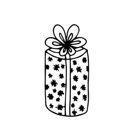 A hand drawn a box with presents for Christmas, New Year decor and Birstday. Isolated on white. Element for decoration holiday cards and invitations to the winter holidays. Isolated on white.