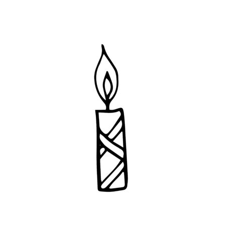 Single hand drawn candle for New Year and Xmas greeting cards, posters, stickers and seasonal design. Isolated on white background. Doodle vector illustration. Illusztráció