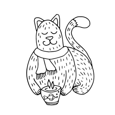 Cute hand drawn winter cat sitting with cup of tea or coffee. Vector doodle illustration with adorable cat is meditating. Isolated on white background for textile prints, child poster, stationery.