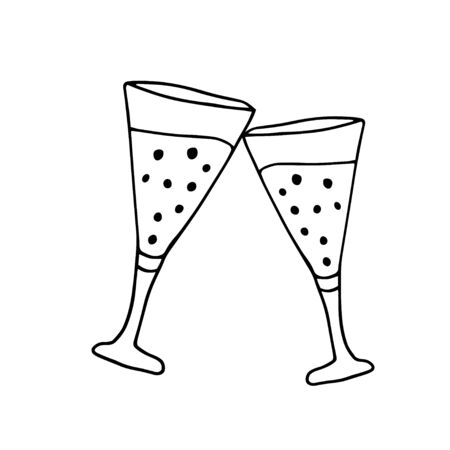 Hand drawn of two glasses of champagne. Doodle vector illustrations for greeting cards, posters, stickers, packaging. Isolated on a white background.
