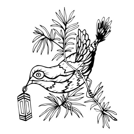 Hand drawn decorative monochrome bird with holiday lantern for Christmas and New Year. A bird sits on a branch and holds a lantern in its beak. Vector illustration for cards, design, coloring book.