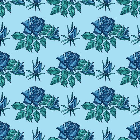 Seamless pattern with blue roses and buds on light blue background. Endless texture for trendy fabric print.