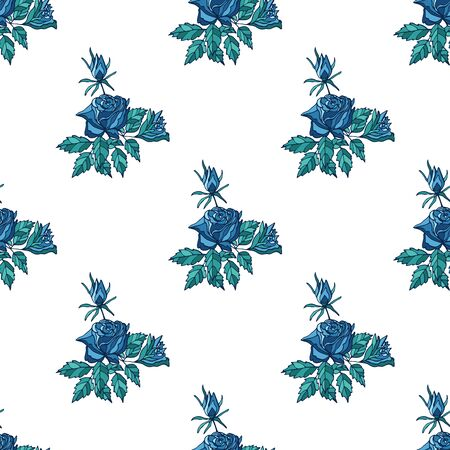 Seamless pattern with blue roses and buds on white background. Endless texture for trendy fabric print.  イラスト・ベクター素材