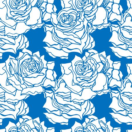 Seamless pattern with white roses on the classic blue background. Endless texture for trendy fabric print. Endless texture for your design, wedding announcements, textile, packaging.  イラスト・ベクター素材
