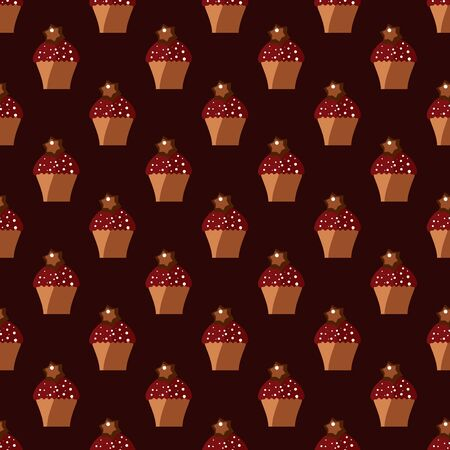 Seamless pattern with cupcakes and chocolate stars on the chocolate background. Endless food texture for design.