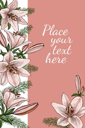 Decorative greeting card with pink lily flowers. Elegant post card with beautiful lilies. Free place for text. Vector design.