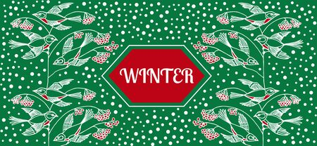 Winter background with berries and birds on green. Pattern element for cover, print, web, wrapping. Vector design.