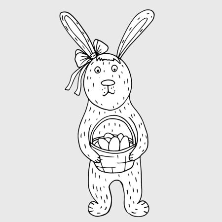 Easter doodle rabbit with eggs. Graphic isolated sketch. Illustration vector. Çizim