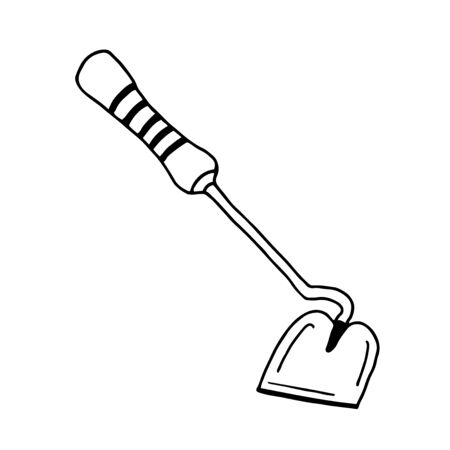 A shovel garden tool. Hand drawn doodle garden vector illustration. Isolated on white.