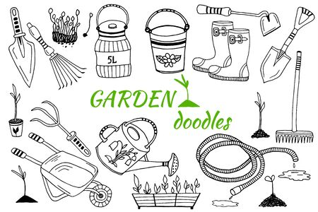 Set of cartoon gardening items a white background. Doodle vector illustration
