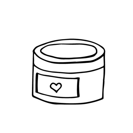 Vector doodle illustration. Close-up of container for cosmetics on a white isolated background. Cosmetic bottle icon.