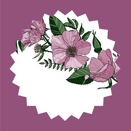 Elegant floral card with wild roses. Mug stand with pink flowers. Vector design. Color floral design.