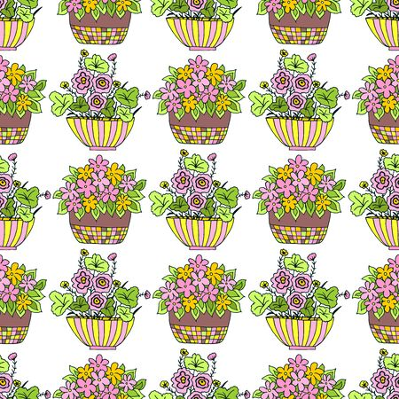 Seamless pattern with cute hand drawn flower plants in pots. Doodle vector bright illustration house plants for your designes of packaging, clothing, textile and mutch more.