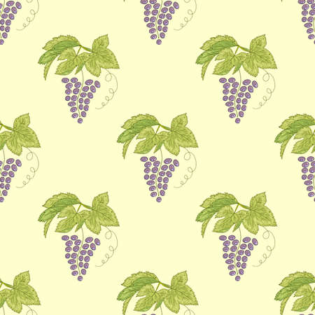 Seamless pattern with purple grape and leaves on the light yellow background.