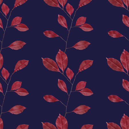 Seamless bright pattern consist of scanned leaves on dark violet. Useful for textile and autumn backgrounds.