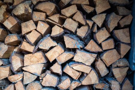 Large pile yard. Harvesting firewood for the winter. Wood background