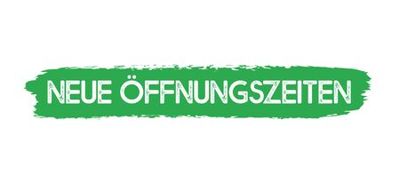 Hand sketched banner with Neue Oeffnungszeiten quote in German. Translated New opening hours. Lettering for advertisement, announcement. Stock Illustratie