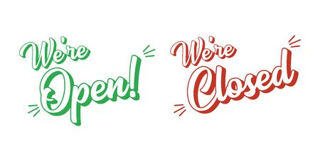 Hand sketched set Open Closed quotes. Lettering for poster, flyer, ad, banner, signboard
