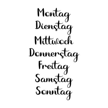 Hand Lettered Days of the Week in German. Lettering for Calendar, Organizer, Planner.