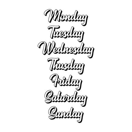 Hand Lettered Days of the Week. Lettering for Calendar, Organizer, Planner
