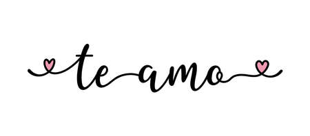 Handwritten quote Te Amo as banner in Spanish. Translated Love You. Lettering Ilustração
