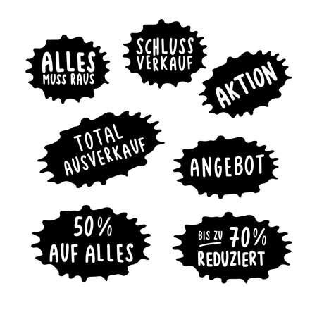 Hand sketched set of sale quotes Angebot, Reduziert, SSV, WSV, Schlussverkauf, Aktion in German. Translated Offer, Up to Off, Discount Ilustração