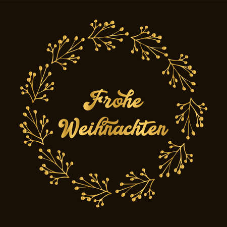 Frohe Weihnachten quote in German as logo or header. Translated Merry Christmas. Celebration Lettering Logo
