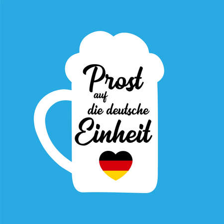 Hand sketched Beer Mug with Prost auf die deutsche Einheit quote in German, translated Cheers for the German Unity day. Lettering