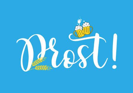 Hand sketched Prost quote in German translated Cheers. Isolated on white background. Drawn Oktoberfest lettering Vektoros illusztráció