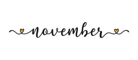 Hand sketched November word as banner. Lettering