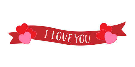 Hand sketched I love you quote with ribbon and hearts. 14. February romantic lettering